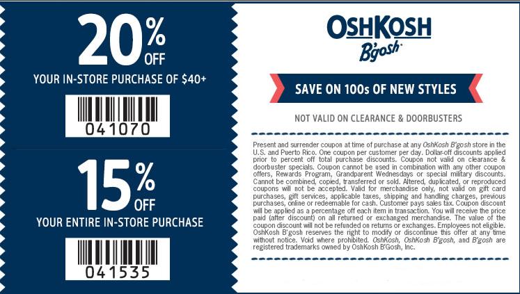 picture regarding Oshkosh Printable Coupon identified as Oshkosh b gosh promo code - Print Sale