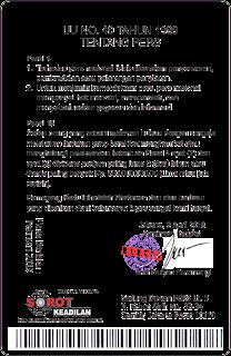 ID Card Pers Belakang