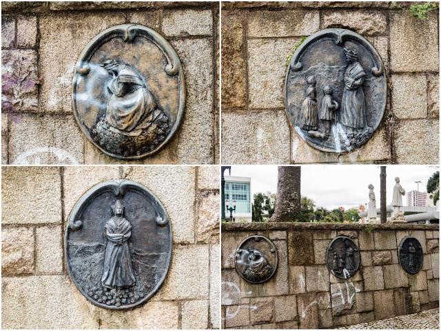 Medalhões em bronze referentes aparição Nossa Senhora de Salette