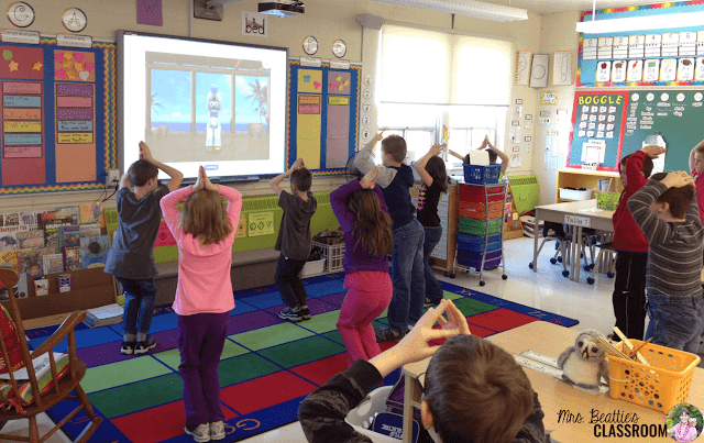 Photo of students participating in GoNoodle activities