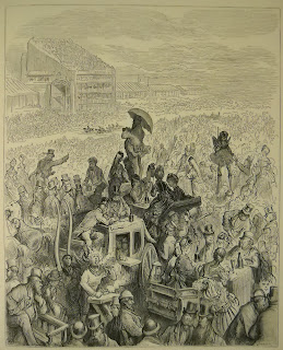 A detailed engraving of a crowd.