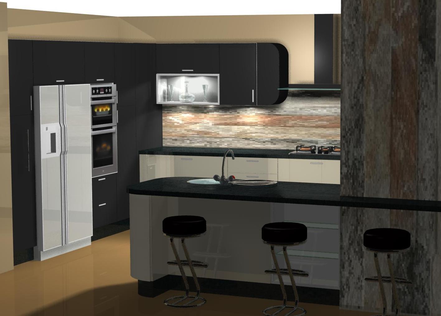 Mi Cocina Diseno De Cocina Lacado En Crema Y Negro Con Muebles Curvos - Como-disear-mi-cocina