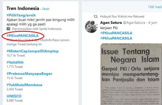 Tagar #PKIvsPANCASILA Jadi Trending Topic Teratas di Twitter