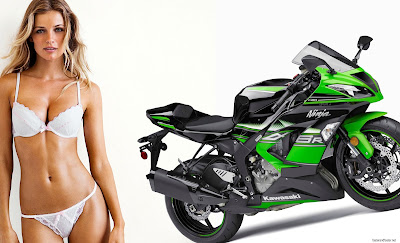 2016 Kawasaki ZX-6R bike with bikini babes hd image