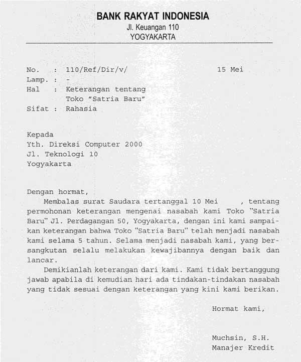 Contoh surat referensi Bank atas nasabahnya