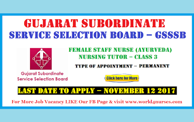Gujarat Subordinate Service Selection Board – GSSSB  Nursing Tutor Recruitment November 2017 (Govt Job)