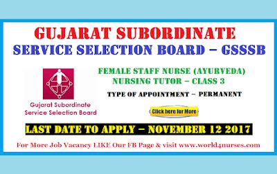 Gujarat Subordinate Service Selection Board – GSSSB  Nursing Tutor Recruitment November 2017 (Govt Job)