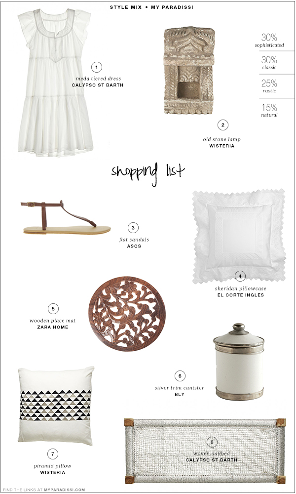 Style mix: Sophisticated | Classic | Rustic | Shopping list