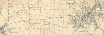 Detail of 1900 USGS map of Los Angeles area