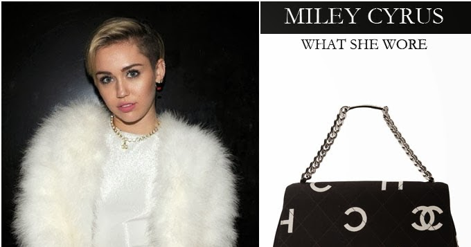 b8680898127a WHAT SHE WORE: Miley Cyrus with black fold over letter printed Chanel bag  at the MTV EMAS on November 10 ~ I want her style - What celebrities wore  and ...