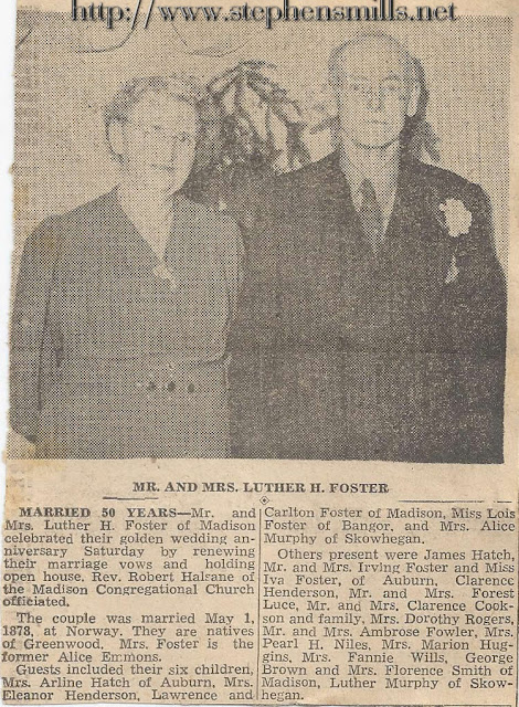 50th Anniversary newspaper article  - Alice Emmons Foster and Luther Foster