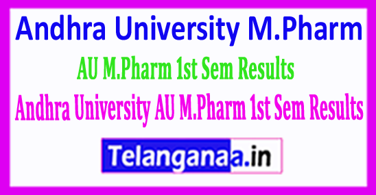 Andhra University AU M.Pharm 1st Sem Results 2018