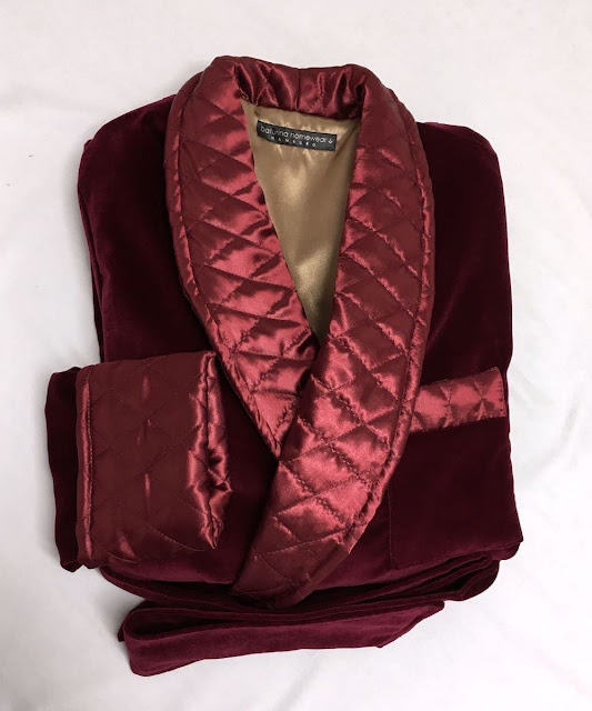 mens red velvet robe warm dressing gown quilted silk smoking jacket burgundy