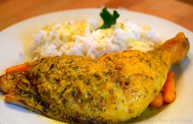 Muslos de pollo al horno con salsa de naranja
