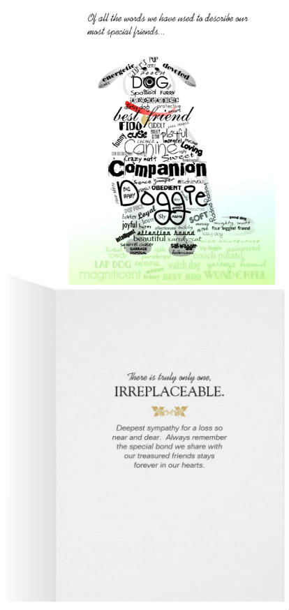 dog sympathy words we use to describe our best friends card front and back by Julie Alvarez