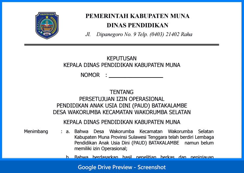 Contoh Surat Permohonan Izin Operasional Sekolah PAUD