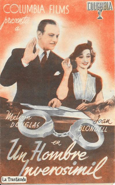 Programa de Cine - Un Hombre Inverosimil - Melvyn Douglas - Joan Blondell