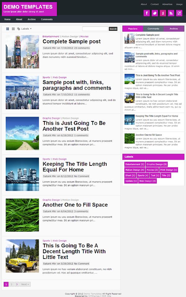 TheTuts Purple Blogger Template