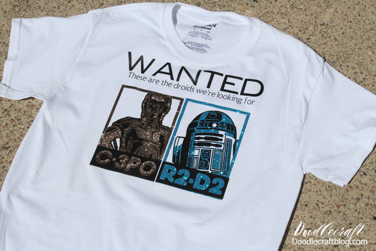 tee shirt made with Cricut Explore Air 2 and iron-on vinyl with star wars droids