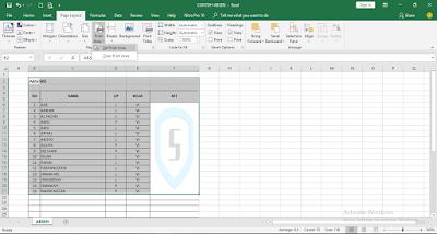 cara menambahkan Print Area di Excel 2016