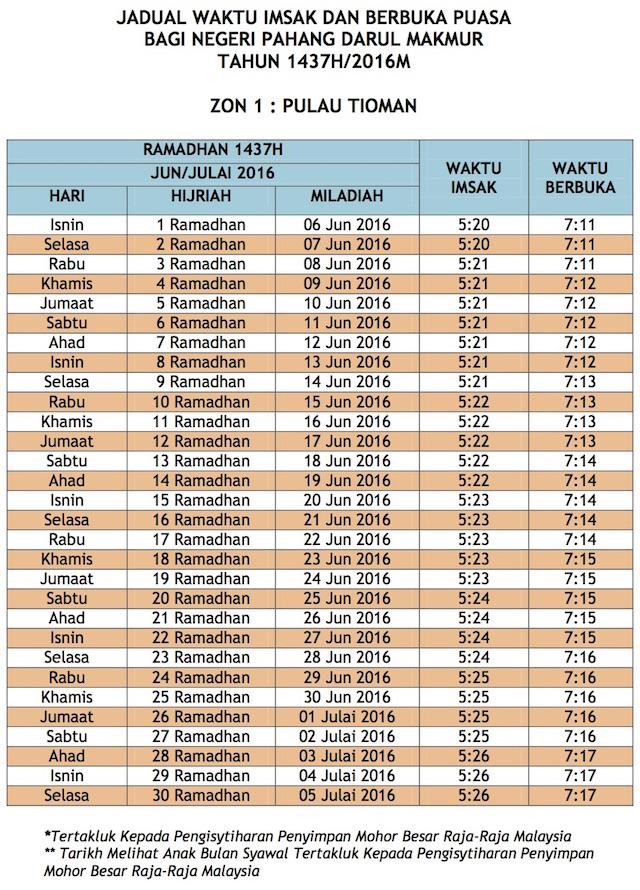 Jadual Waktu Buka Puasa Dan Imsak 2016 Pahang zon 1
