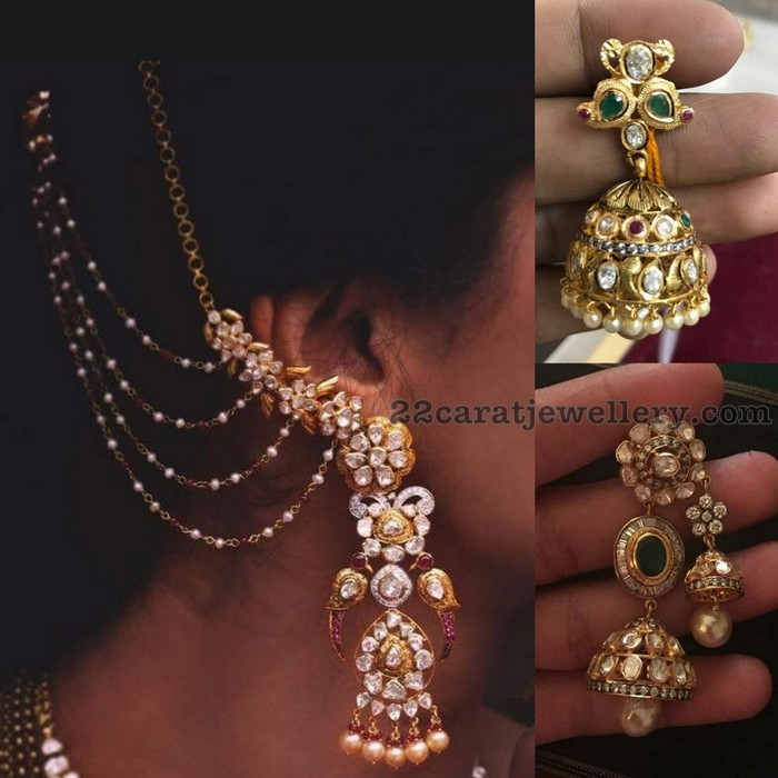 at gold earrings t womens hansini net diamond jewellery jhumka chic buy white