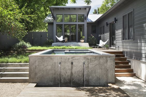 Casita and pool in austin tx white noir for Casita plans for backyard