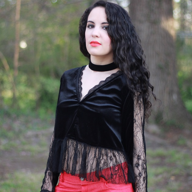 Black Velvet and Lace Top