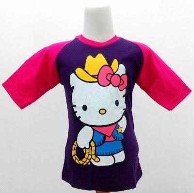 Kaos Raglan Anak Karakter Hello Kitty Bertopi 3 Ungu Tua