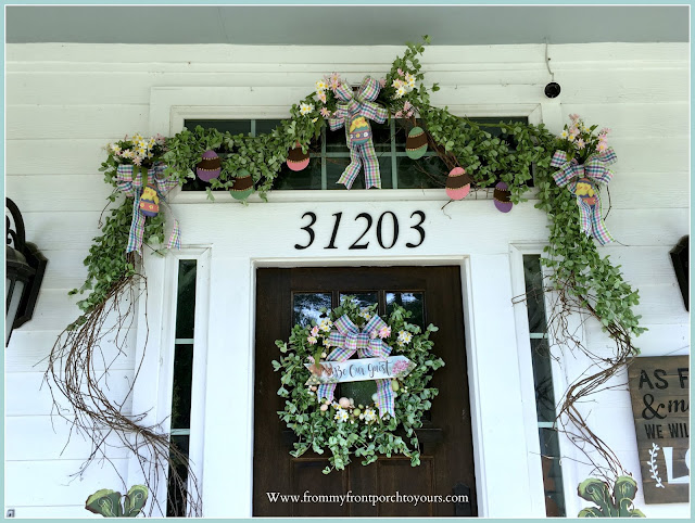 Spring Easter Front Porch-Grapevine garland-DIY-Cottage Style-Porch Decor-From My Front Porch To Yours