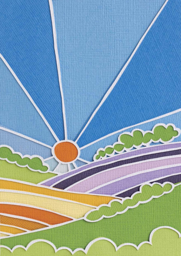 papercut sun and field landscape scene