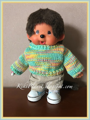 kiki monchhichi pull tricot fait main poupée handmade vêtement clothes knitted sweater