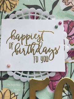 50th birthday card, Share What You Love, Stampin Up, heat embossing