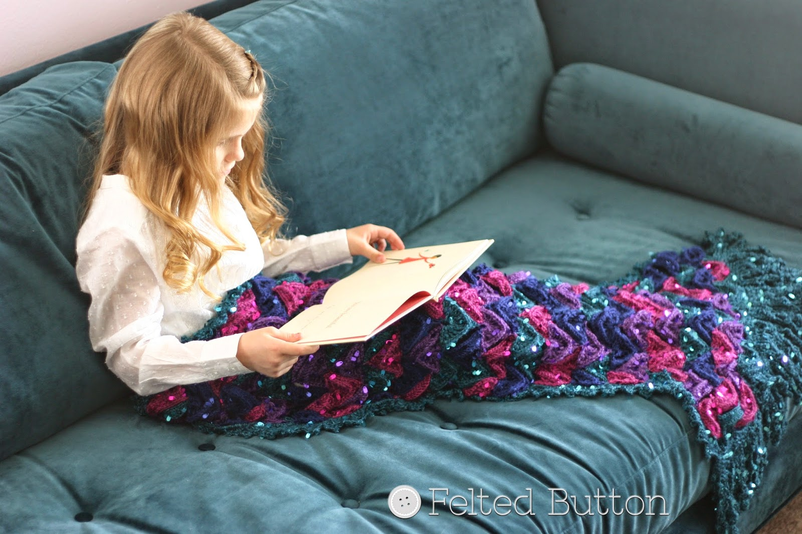 Mermaid Me Blanket Crochet Pattern by Susan Carlson of Felted Button