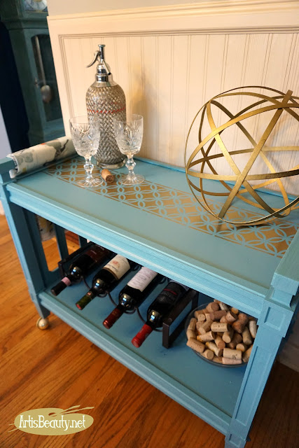 BLUE AND GOLD HOLLYWOOD REGENCY BAR CART MAKEOVER USING GENERAL FINISHES MILK PAINT