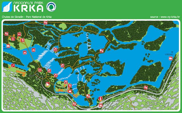 Mapa del recorrido desde Skradin,Croacia