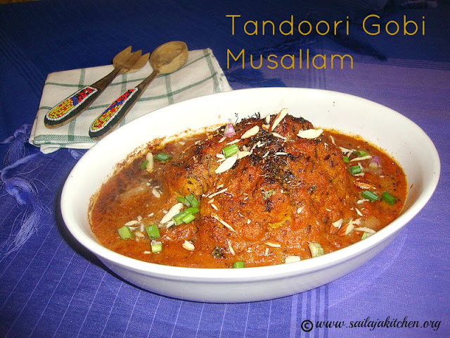 images of Tandoori Gobi Musallam Recipe / Gobhi Musallam Recipe / Whole Cauliflower In Mughlai Gravy