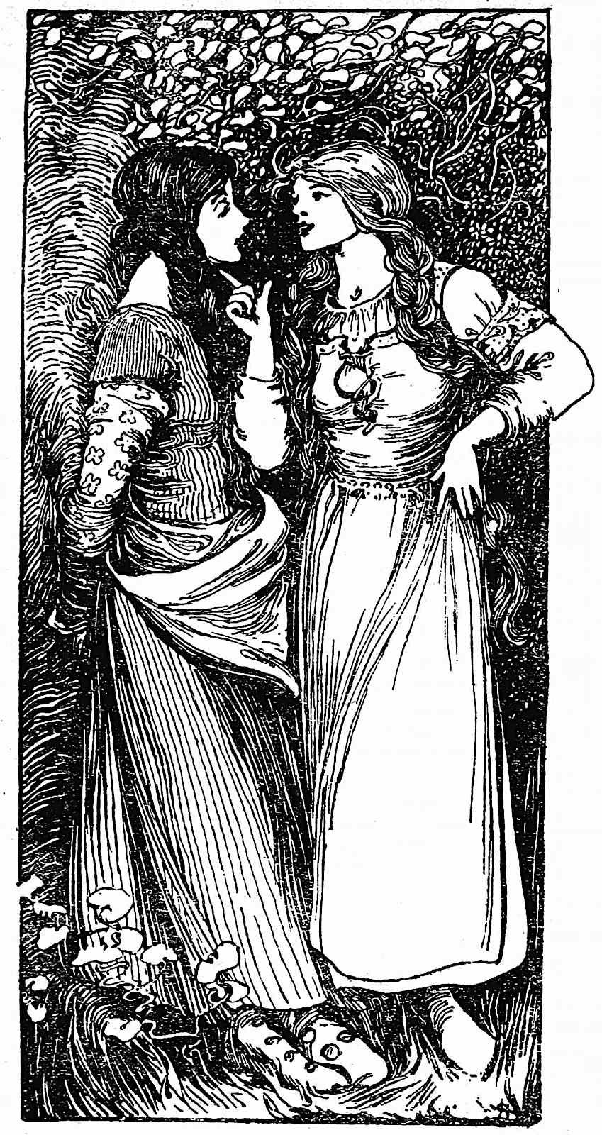 an Ellen Stratton illustration of two women talking in nature