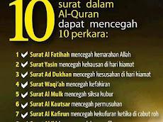 Sepuluh (10) surah dalam Al-Quran yang mencegah sepuluh (10) perkara