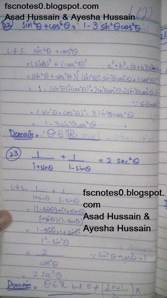 FSc ICS FA Notes Math Part 1 Chapter 9 Fundamentals of Trigonometry Exercise 9.4 Question 22 - 24 by Asad Hussain & Ayesha Hussain