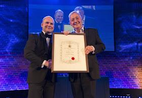 Graham Vick presented with Honorary Membership of the Royal Philharmonic Society by John Gilhooly at the RPS Music Awards, 10 May photo credit - Simon Jay Price