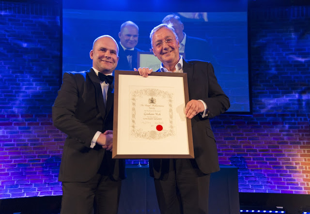 Graham Vick presented with Honorary Membership of the Royal Philharmonic Society by John Gilhooly at the RPS Music Awards, 10 May photo credit - Simon Jay Price