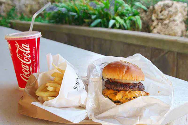Coke, fries and double cheeseburger, picnic table, garden