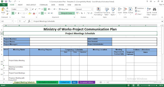 Project Communication Plan Excel Template