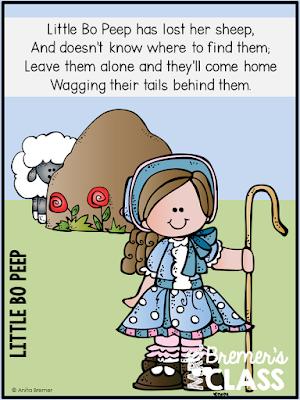 Nursery Rhymes Unit featuring 10 favorite nursery rhymes. The pack includes literacy and math activities, retell puppets, coloring pages, colored posters, text-to-self connection pages, and more! Nursery Rhyme Olympic activities and medals are included too!