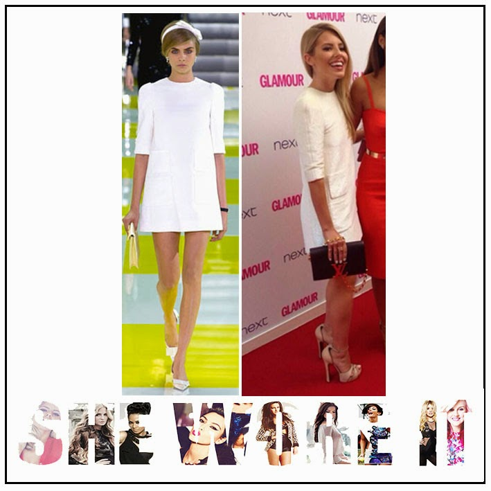 3/4 Length Sleeves, Bright White, Louis Vuitton, Mini Dress, Mollie King, Pocket Detail, round neckline, Shift Dress, Spring Summer 2013, The Saturdays,