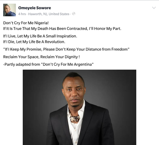 If it is true my death has been contracted, I will honor my part- Omoyele Sowore says amid Certificate scandal