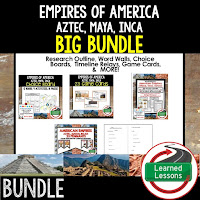 Aztec, Inca, Maya, Ancient World History Mega Bundle, Ancient World History Curriculum, World History Digital Interactive Notebooks, World History Choice Boards, World History Test Prep, World History Guided Notes, World History Word Wall Pennants, World History Game Cards, World History Timelines