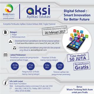 Lomba Aplikasi Edukasi Bukit Asam Foundation 2017, Hadiah 50 Jt