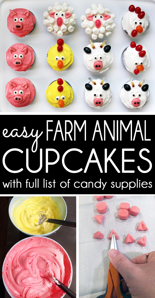 How to Make Easy Farm Animal Cupcakes - pig sheep chicken cow rooster